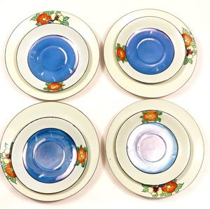 8 vintage Japanese hand-painted porcelain plates